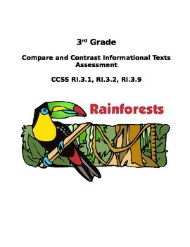 Compare and Contrast Informational Texts Assessment #2 CCSS RI3.9