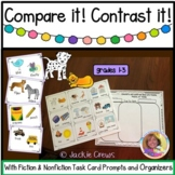 Compare & Contrast It! Fiction & Nonfiction Task Card Organizers Literacy Center