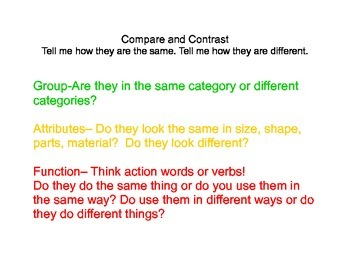 Compare and Contrast Language Cards