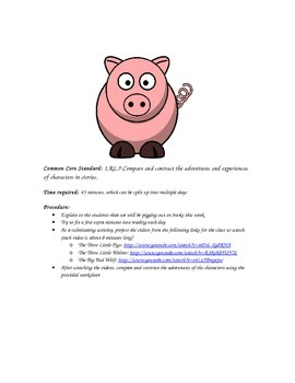 Compare and Contrast Lesson:  Fun with The  Three Little Pigs, videos, and quiz