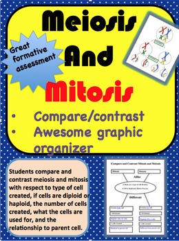 Compare and Contrast Meiosis and Mitosis Graphic Organizer