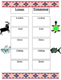 Compare and Contrast Native American Groups Lenape and Wampanoag Freebie