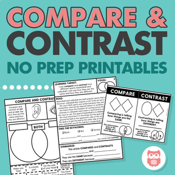 Compare and Contrast: No Prep Visuals, Worksheets, Practice ...