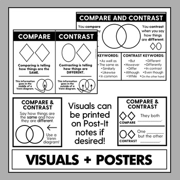 Compare and Contrast: No Prep Visuals, Worksheets, Practice Activities, & More