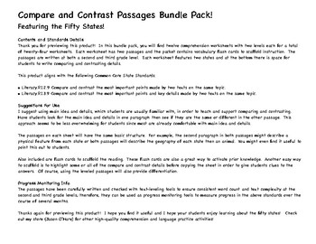 Compare and Contrast Nonfiction PRACTICE & PROGRESS MONITORING 50 States Bundle!