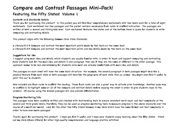 Compare and Contrast Nonfiction PRACTICE & PROGRESS MONITORING 50 States Vol. 1