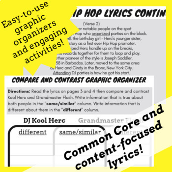 Compare and Contrast Passage Questions for Nonfiction Using Hip Hop History Song