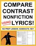 Compare and Contrast Nonfiction Passages with Music Lyrics: No Prep Lesson & Key
