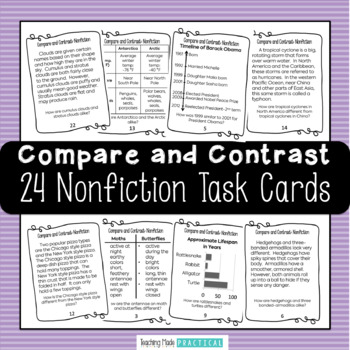 Compare and Contrast Task Cards - Informational Text - Use for Scoot