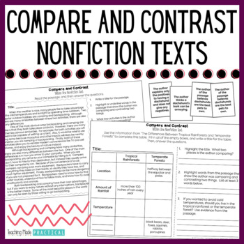 Compare and Contrast Nonfiction - Compare and Contrast Passages