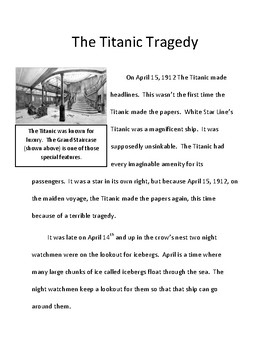 Compare and Contrast: Nonfiction (Two Disasters)