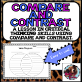 Distance Learning Compare and Contrast Paragraph Frame with Venn Diagram