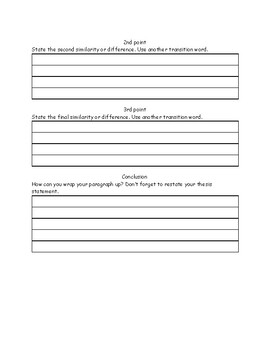 Compare and Contrast Paragraph Graphic Organizer