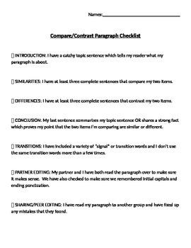 Compare and Contrast Paragraph Success Criteria/Checklist