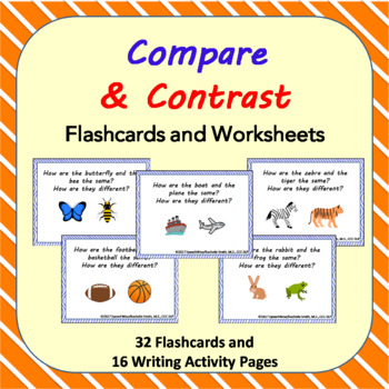 Compare and Contrast Picture Task Cards, Activities to Describe Relationships