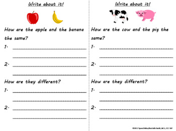 Compare and Contrast Picture Task Cards: Relationships,  Basic Categories