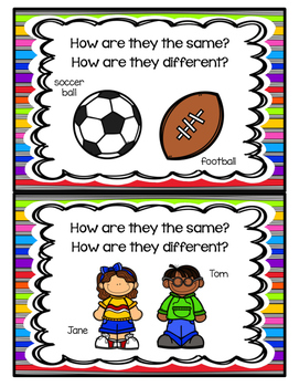 Compare and Contrast Picture Task Cards