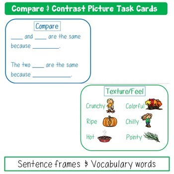 Compare and Contrast Picture Task Cards Fall