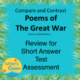 Compare and Contrast Poems of the Great War, Review of Short Answer Test, AP