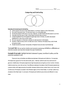 Compare and Contrast Practice and Writing Template