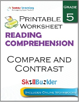Compare and Contrast Printable Worksheet, Grade 5