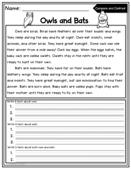 Compare and Contrast Reading Comprehension Nonfiction Pack Freebie