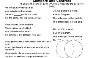 Compare and Contrast Reading Comprehension Song