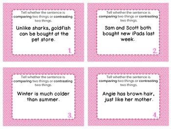 Compare and Contrast Sentences Task Cards