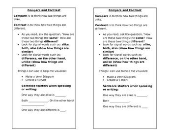 Compare and Contrast Strategy Bookmark