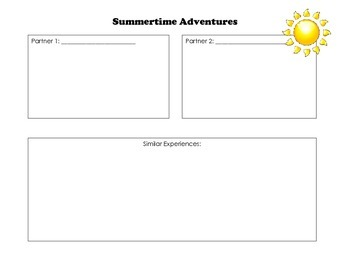 Compare and Contrast - Summer Adventures