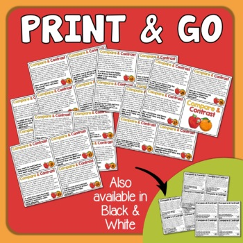 Compare and Contrast Task Cards - Short Passages, Color and Black Line Included!