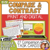 Compare and Contrast Task Cards - Short Passages, Color an