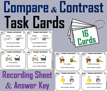 Compare and Contrast Task Cards 5th 4th 3rd 2nd Grade Reading Comprehension