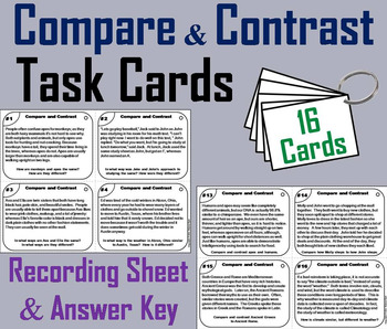 Compare and Contrast Task Cards 6th 5th 4th 3rd Grade Reading Comprehension