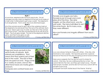 Compare and Contrast Task Cards For Each Guided Reading Level (Levels Q and R)