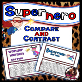 Distance Learning Compare and Contrast Task Cards and Venn Diagram Superhero