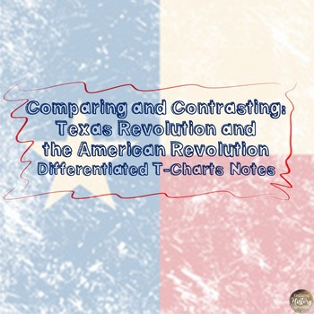 Compare and Contrast: Texas & American Revolution Differentiated T-Chart