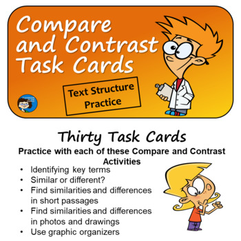 Compare and Contrast - Text Structure Task Cards
