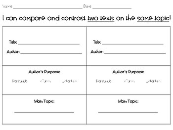 Compare and Contrast Texts Graphic Organizer