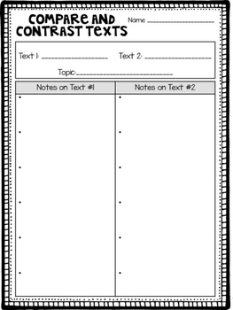 Compare and Contrast Texts Graphic Organizers Freebie
