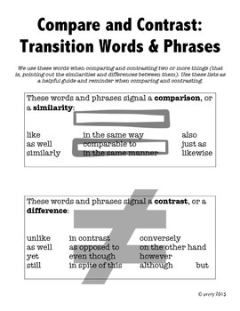 comparing and contrasting transitions