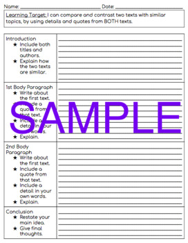Compare and Contrast Two Texts Graphic Organizers
