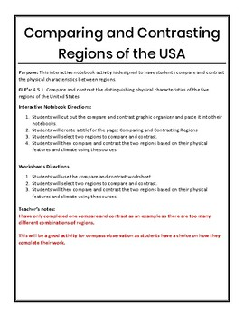 Compare and Contrast US Regions