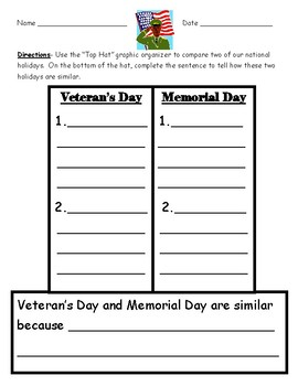 Compare and Contrast Veteran's Day and Memorial Day Graphic Organizer