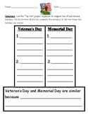 Compare and Contrast Veteran's Day and Memorial Day Graphi