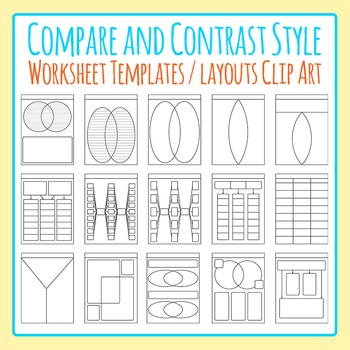Compare and Contrast Worksheet Templates / Layouts Clip Art For Commercial Use