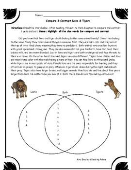 Compare and Contrast Worksheet Test Prep Homework Assessment