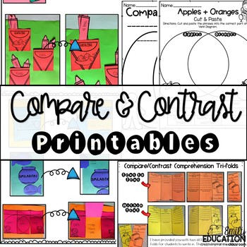 Compare and Contrast - Worksheets, Interactive Journal Pages, Graphic Organizers
