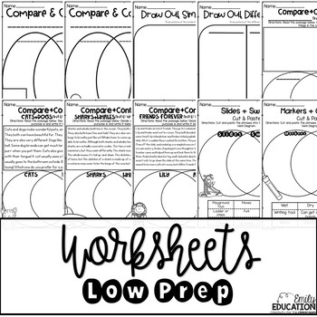Compare And Contrast Worksheets Interactive Journal Pages