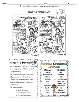 Compare and Contrast Writing Frame Activity using two pictures